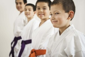 Boys in karate class